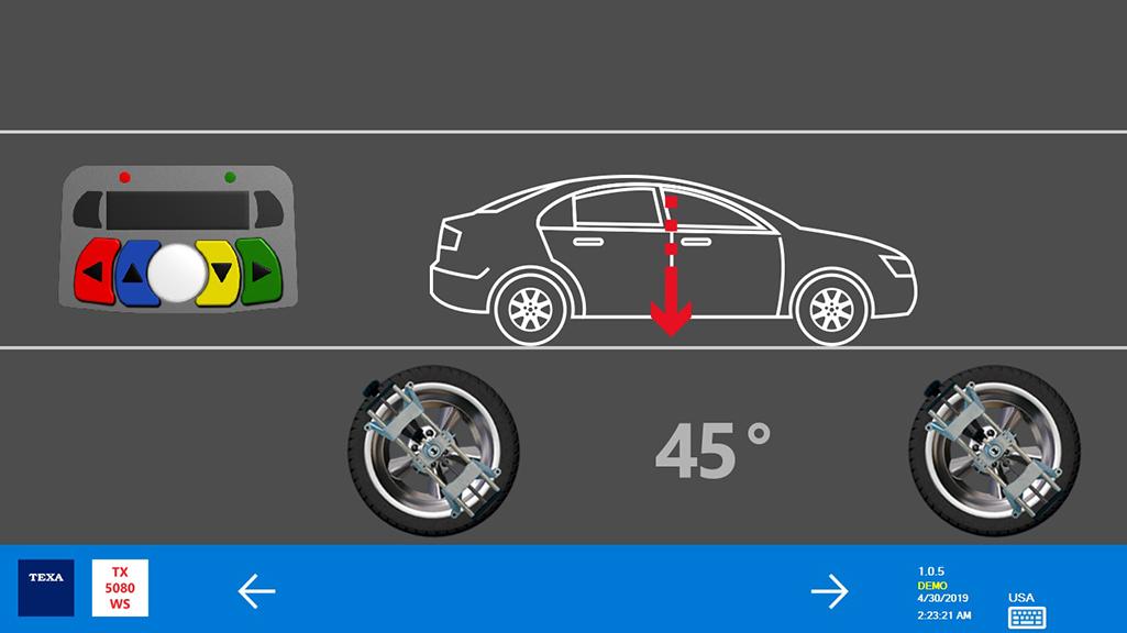 Posizionare i 4 sensori sugli appositi aggrappi ed eseguire il Run Out. A questo punto arretrare il veicolo fino a che gli aggrappi non saranno inclinati di 45°. Successivamente il veicolo viene spostato in avanti fino a riportarli in posizione verticale.