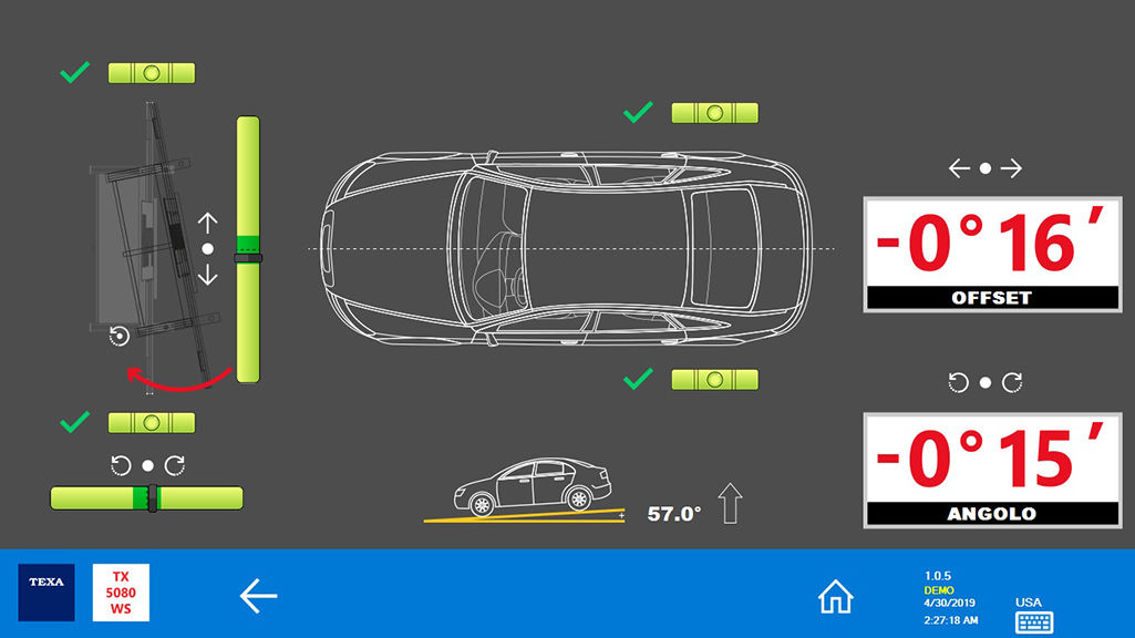 """La dicitura """"OFFSET"""" indica quanto l'RCCS 3 è fuori centro rispetto alla linea mediana del veicolo. """"ANGOLO"""" indica invece di quanto l'angolo di imbardata della struttura è fuori centro rispetto al veicolo."""