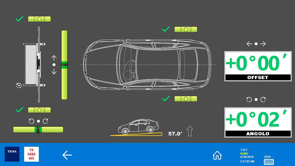 La struttura è allineata al veicolo in modo corretto ed è possibile procedere alla calibrazione del radar o della telecamera.